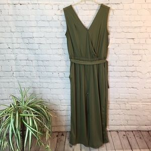 51a91a8cb3bf Olive green vneck sleeveless jumpsuit size M. New!